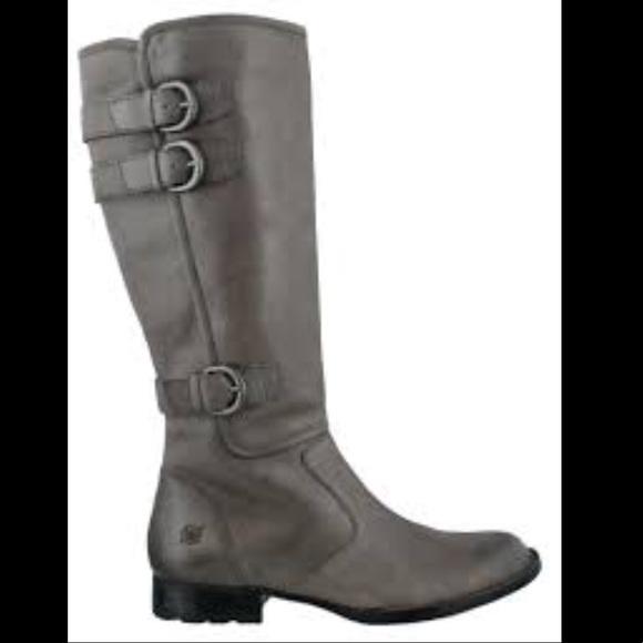 1c339942560 Born Shoes - BORN Attila tall riding leather boots Gray 8